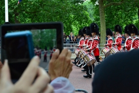 The guard marches from Buckingham Palace in celebration of the queen's birthday in 2014.