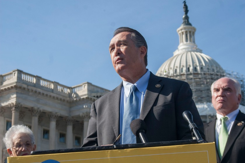 Rep. Trent Franks, R-Glendale, leads other lawmakers in urging support for religious freedom ahead of Wednesday's Supreme Court hearing for Zubik vs. Burwell. (Danika Worthington/Cronkite News)